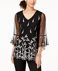 Alfani Petite Embroidered Mesh Top, Created for Macy's