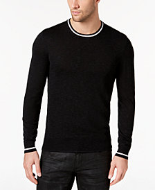 I.N.C. Men's Contrast-Trim Knit Sweater, Created for Macy's