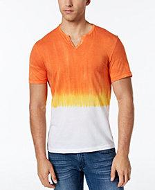 I.N.C. Men's Split-Neck Dip Dyed T-Shirt, Created for Macy's