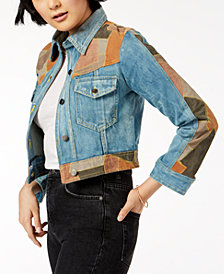 Free People Dallas Suede-Patchwork Denim Jacket