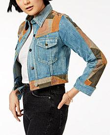 Free People Dallas Suede-Patchwork Denim Jacket