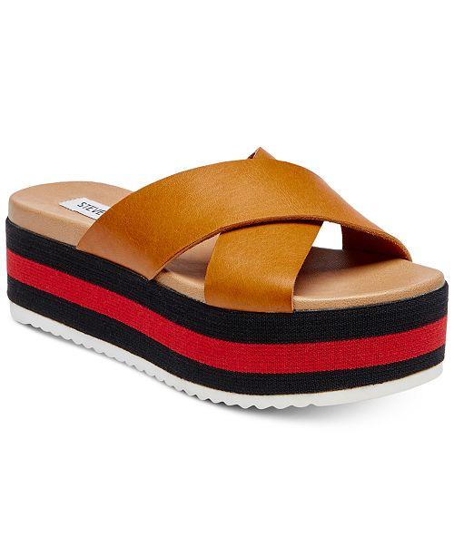 77f6f1f97b4f Steve Madden Women s Asher Cross-Band Flatform Sandals   Reviews ...
