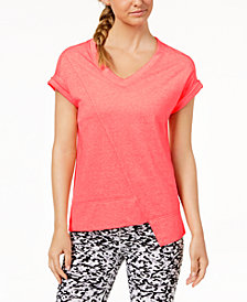Calvin Klein Performance V-Neck Asymmetrical-Hem Top