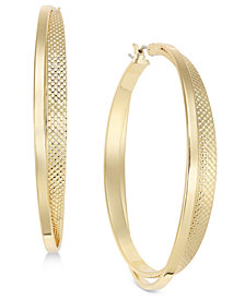 I.N.C. Gold-Tone Two-Row Textured 1.8'' Hoop Earrings, Created for Macy's