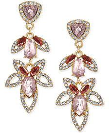 I.N.C. Gold-Tone Crystal & Stone Openwork Drop Earrings, Created for Macy's