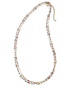 """I.N.C. Gold-Tone Crystal & Bead Double-Row Station Necklace, 60"""" + 3"""" extender, Created for Macy's"""
