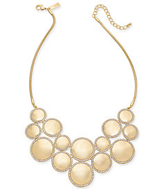"I.N.C. Gold-Tone Pavé & Circle Statement Necklace, 18"" + 3"" extender, Created for Macy's"