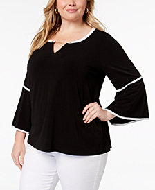 Calvin Klein Plus Size Contrast-Trim Bell-Sleeve Tunic