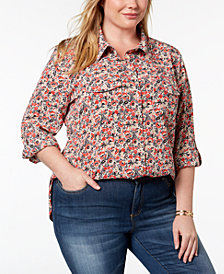 Tommy Hilfiger Plus Size Flower-Print Shirt, Created for Macy's