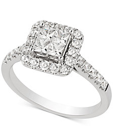 Diamond Princess Cluster Engagement Ring (1 ct. t.w.) in 14k White Gold