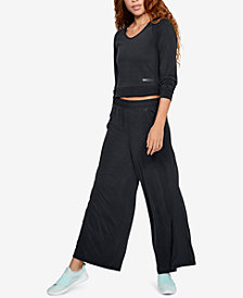 Under Armour Unstoppable Cropped Sweatshirt & Wide-Leg Sweatpants