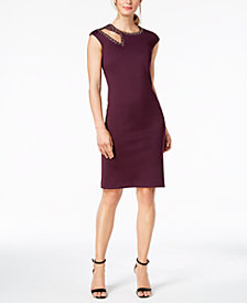Calvin Klein Embellished Cutout Sheath Dress