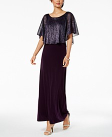 Metallic-Capelet Gown