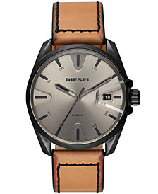 Diesel Men's MS9 Brown Leather Strap Watch 44mm