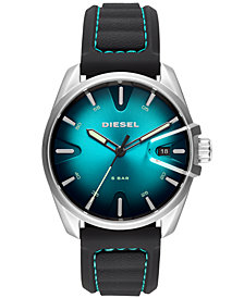 Diesel Men's MS9 Black Silicone Strap Watch 44mm