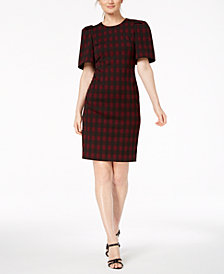 Calvin Klein Checked Puff-Sleeve Sheath Dress