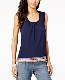 Trina Turk Fringe-Hem Sleeveless Top