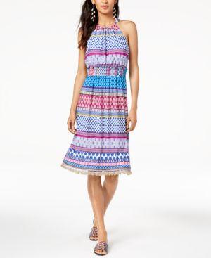 Trina Turk Smocked-Waist Brooke Halter Dress 6549220