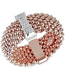 Diamond Accent Mesh-Look Statement Ring in 14k Rose Gold-Plated Sterling Silver