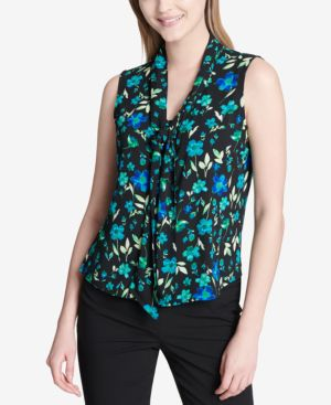 PRINTED TIE-NECK SHELL