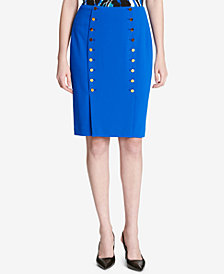 Calvin Klein Button-Front Sailor Pencil Skirt
