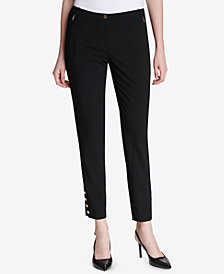 Calvin Klein Button-Hem Ankle Pants
