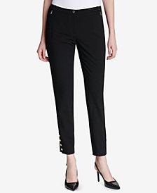 Calvin Klein Petite Button-Hem Ankle Pants