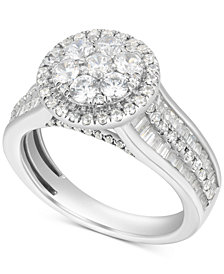 Diamond Halo Cluster Enhancer Bridal Set (2 ct. t.w.) in 14k White Gold