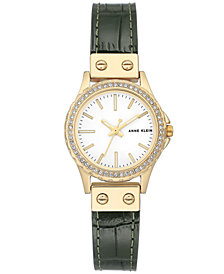 Anne Klein Women's Green Leather Strap Watch 29mm