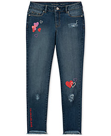 Calvin Klein Big Girls Embroidered Graphic-Print Skinny Jeans