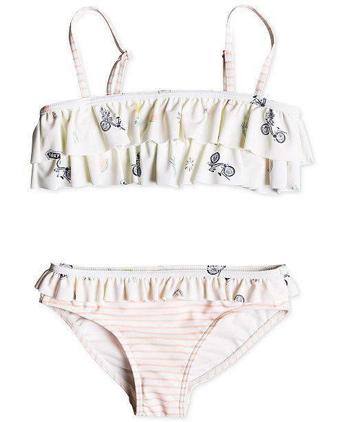 bb638ba7d7 Roxy Little Girls 2-Pc. Ruffle-Trim Bikini - Swimwear - Kids - Macy's