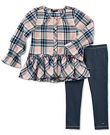 Tommy Hilfiger Toddler Girls 2-Pc. Plaid Tunic & Denim Leggings Set