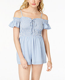 Almost Famous Juniors' Smocked Cold-Shoulder Romper