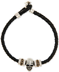 R. T. James Men's Skull and Braided Cord Bracelet in Sterling Silver