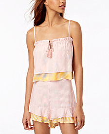 Love, Fire Juniors' Striped Layered Sleeveless Top