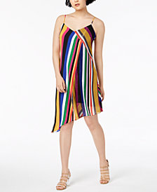 Bar III Striped Asymmetrical Dress, Created for Macy's