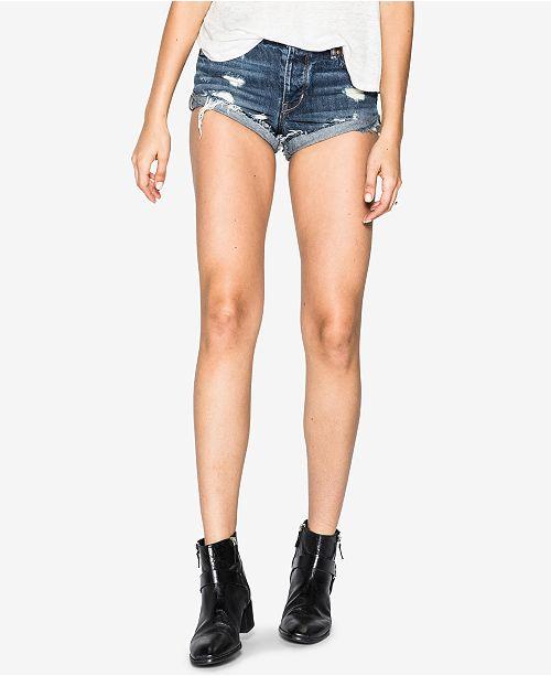 Jeans Co Shorts Ripped Indigo Silver Cotton Cutoff Breccan OTpAq