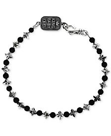 King Baby Men's Onyx (4mm) & Celtic Cross Link Bracelet in Sterling Silver