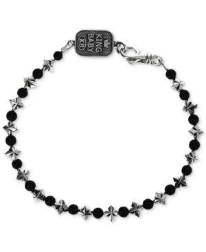 KING BABY Men'S Onyx (4Mm) & Celtic Cross Link Bracelet In Sterling Silver