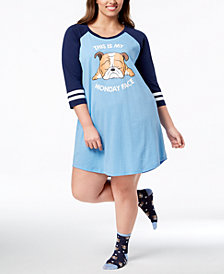 Jenni Plus Size Sleepshirt & Sock Set, Created for Macy's