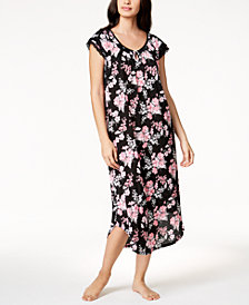 Charter Club Crinkle Bouquet-Print Nightgown, Created for Macy's