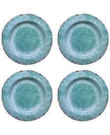 Jay Imports Vintage Teal Melamine Salad Plates, Set of 4
