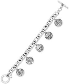 Lucky Brand Silver-Tone Coin Charm Bracelet
