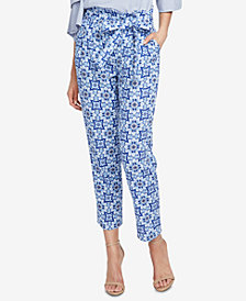 RACHEL Rachel Roy Tile-Print Paperbag Pants, Created for Macy's