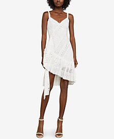 BCBGMAXAZRIA Asymmetrical Cotton Eyelet Dress