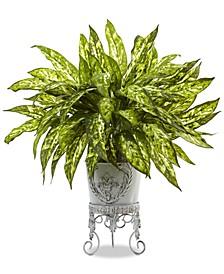 2' Aglaonema Artificial Plant in Metal Planter
