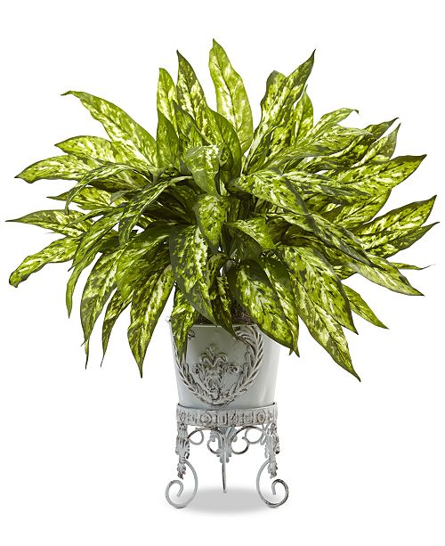 Nearly Natural 2' Aglaonema Artificial Plant in Metal Planter