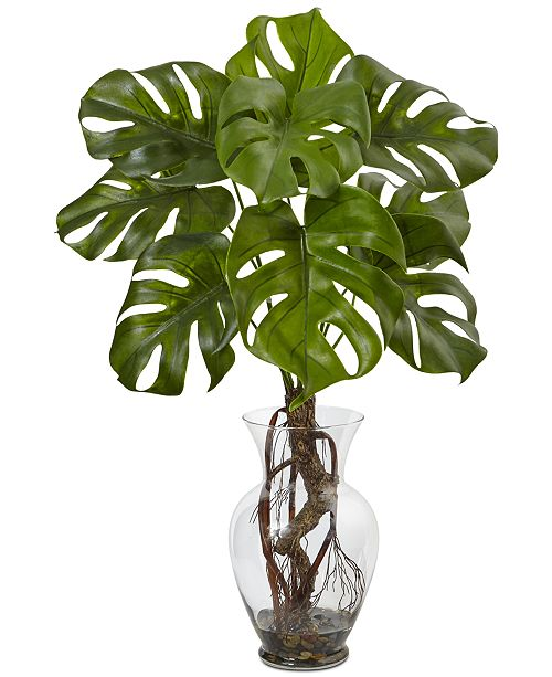 "Nearly Natural 26"" Monstera Artificial Plant in Glass Vase with Rocks"