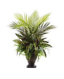 """27"""" Mixed Areca Palm, Fern & Peacock Artificial Plants in Planter"""