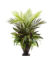 "Nearly Natural 27"" Mixed Areca Palm, Fern & Peacock Artificial Plants in Planter"